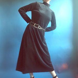 Vintage 90s Black Velvet Mock Neck Maxi Dress